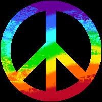 Peacezeichen Pace Frieden Regenbogen Grunge bunt