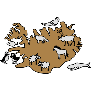 island Karte Tiere
