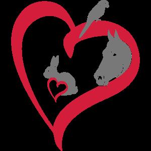 Haustiere 3 Herz groß big heart - Tierliebe Love