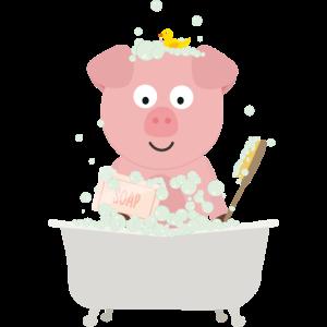 Schwein in Badewanne mit Luftblasen