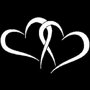 Zwei weiße Herzen für Verliebte, Verlobte, Freunde