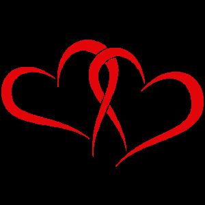 Zwei rote Herzen für Verliebte, Verlobte, Freunde