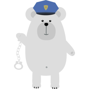 Eisbär mit Handschellen
