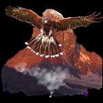 Adler vor Berg