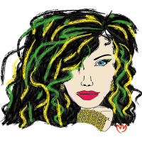 woman - green hair