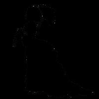 Schwarze Barock Lady Silhouette mit Sonnenschirm