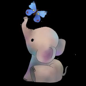 Elefant mit Schmetterling