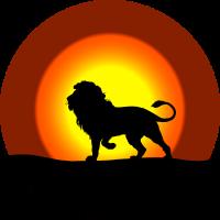 Löwe vor Sonne