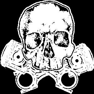 Totenkopf mit gekreuzten Tuning Kolben
