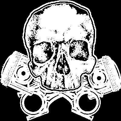 Totenkopf mit gekreuzten Tuning Kolben - Skull mit Autoteilen - werkzeug,werkstatt,turbo,tuning,tuner,sportwagen,skull,schädel,schrauber,schraubenschlüssel,rennwagen,rennsport,rennfahrer,motorsport,motor,mechaniker,kolben,geschenk,garage