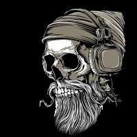 Bart Hipster Skull mit Kopfhörer