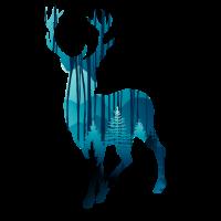 Hirsch in den Wäldern am Abend