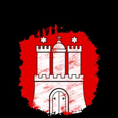 Hamburg - Wappen der Freien und Hansestadt Hamburg mit schwarzem Titel - Wappen,Hansestadt,Hamburg,Freie und Hansestadt