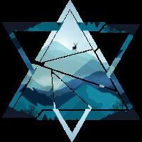 Dreieck Berge mit Hirsch