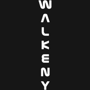 Walkeny Schriftzug vertikal in weiß