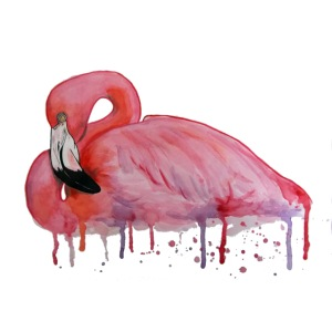 Pink Flamingo Watercolors Nadia Luongo