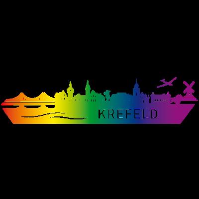 Skyline KREFELD Regenbogen - Skyline in Regenbogenfarben, Heimatstadt Krefeld am Rhein - Krefeld,Krefeld sehenswertes,Skyline Krefeld,Regenbogen,NRW,Krefeld erleben