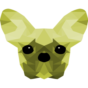 French Bulldog Low Poly Design green