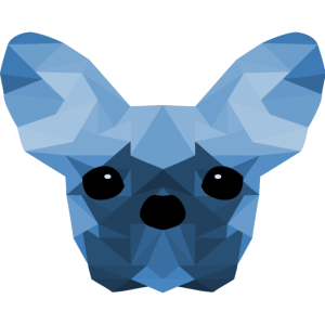 French Bulldog Low Poly Design blue