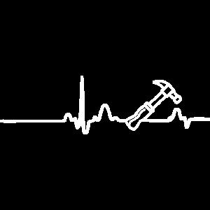EKG HERZLINIE HANDWERKER weiß