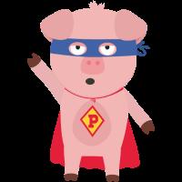 Superhelden Schwein Smo2d-Design