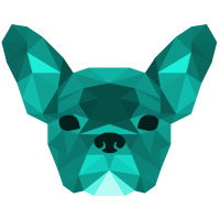 Low Poly Frenchie cyan