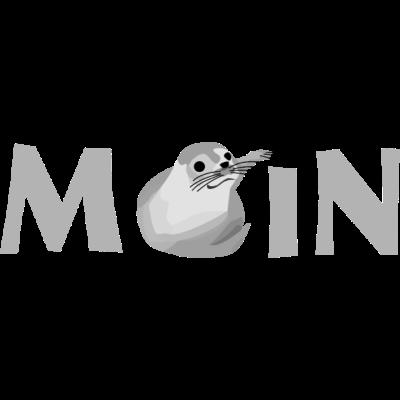 Moin Robbe  - Schriftzug Moin mit einem kleinen Seehund als O.  - seal,Seelöwe,Seehund,Robbe,Nordsee,Norddeutschland,Moinsen,Moin,Cuxhaven,Bremerhaven