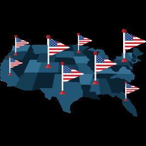 USA-Karte mit Flaggen