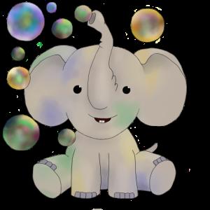 Elefant mit Seifenblasen