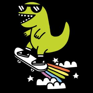 T-Rex Regenbogen Skater