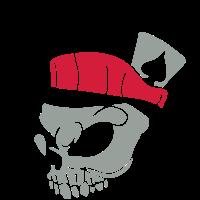 Totenkopf mit Hut 01