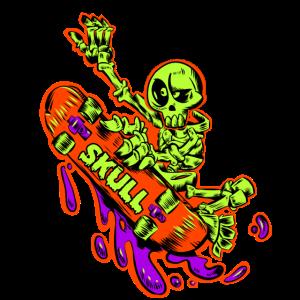 Skelett-Skater mit Skateboard