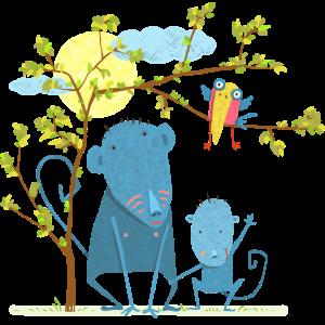Affe mit Kind und Vogel