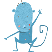 Kleiner blauer Affe