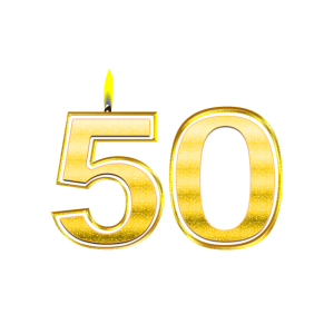 50 - Birthday - Queen - Gold - Flame
