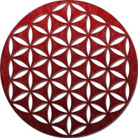 flower of life 2 - red glass punched