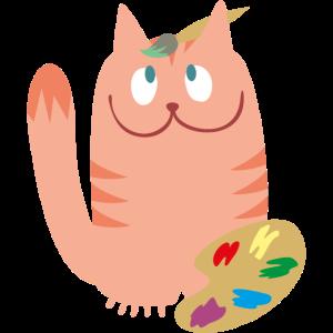 Katze mit Farbpalette