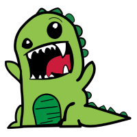 Dinosaurier T-Rex Comic Style Dino in grün