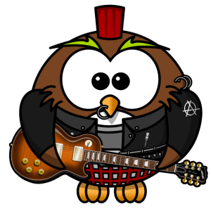 Rockige Eule- Rockmusik RocknRoll Comic Fun