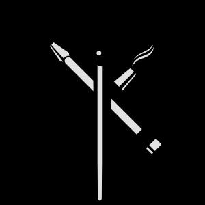Pinsel, Bleistift und Füllfederhalter