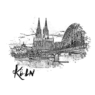 Köln, Stadtansicht als Skizze - Blick auf den Kölner Dom - colonia,kölner dom,rheinland,Köln,cologne,kölsch,dom,nrw