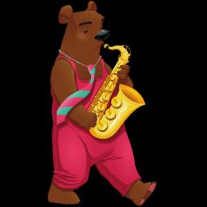 Bär mit Saxophon