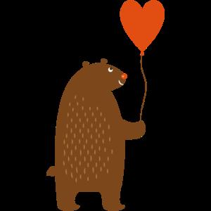 Bär mit Herz-Ballon