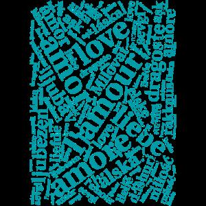 Cover - Love in verschiedenen Sprachen - Wortwolke