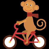 Affen reiten ein Fahrrad