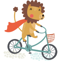 Löwe mit Kap auf dem Fahrrad