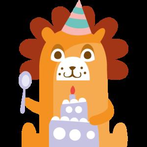 Löwe mit Kuchen