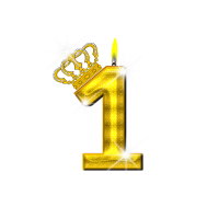 1 - Geburtstag - Krone - Kerze - Gold