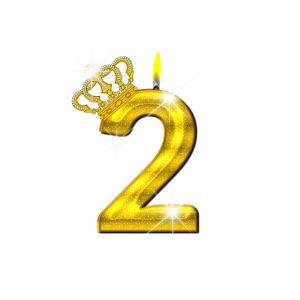 2 - Geburtstag - Krone - Kerze - Gold