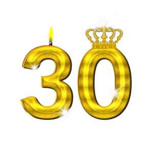 30 - Geburtstag - Krone - Kerze - Gold